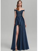 A-Line Off-the-Shoulder Floor-Length Satin Prom Dresses With Sequins Split Front
