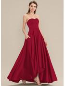A-Line Sweetheart Asymmetrical Satin Bridesmaid Dress With Pockets
