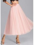 A-Line Tea-Length Tulle Bridesmaid Dress