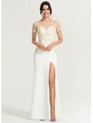 Sheath/Column Scoop Neck Floor-Length Stretch Crepe Wedding Dress With Split Front