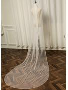 One-tier Beaded Edge Chapel Bridal Veils With Rhinestones