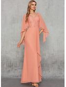 Sheath/Column V-neck Floor-Length Chiffon Evening Dress With Lace Sequins Cascading Ruffles