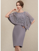 Sheath/Column Scoop Neck Knee-Length Chiffon Lace Mother of the Bride Dress With Beading