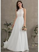 A-Line Scoop Neck Floor-Length Chiffon Wedding Dress