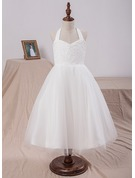 A-Line/Princess Tea-length Flower Girl Dress - Satin/Tulle/Lace Sleeveless Halter