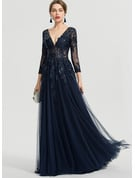 A-Line V-neck Floor-Length Tulle Prom Dresses With Sequins