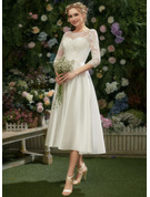 Illusion Tea-Length Wedding Dress With Lace