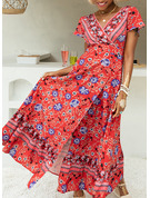Floral Print A-line V-Neck Short Sleeves Maxi Boho Casual Vacation Skater Wrap Dresses