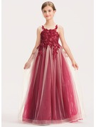 A-Line Floor-length - Tulle/Lace Sleeveless Scoop Neck With Sequins