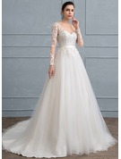 Ball-Gown V-neck Court Train Tulle Lace Wedding Dress With Sequins