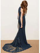 Trumpet/Mermaid Scoop Neck Sweep Train Chiffon Lace Junior Bridesmaid Dress