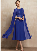 A-Line Scoop Neck Tea-Length Chiffon Lace Mother of the Bride Dress With Sequins
