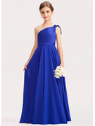 A-Line One-Shoulder Floor-Length Chiffon Charmeuse Junior Bridesmaid Dress With Ruffle