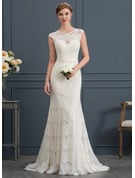 Trumpet/Mermaid Scoop Neck Sweep Train Lace Wedding Dress