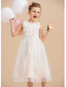 A-Line Tea-length Flower Girl Dress - Tulle/Lace Sleeveless Scoop Neck With Beading/Flower(s)