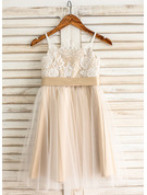 A-Line Square Neckline Knee-Length Tulle Junior Bridesmaid Dress With Sash Bow(s)