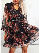 Blomstrete Trykk A-line kjole V-hals Lange ermer Midi Avslappet skater Motekjoler