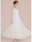 A-Line Floor-length Flower Girl Dress - Lace Long Sleeves V-neck