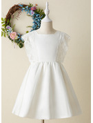 A-Line Knee-length Flower Girl Dress - Satin/Lace Sleeveless Square Neckline