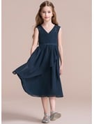 A-Line V-neck Tea-Length Chiffon Junior Bridesmaid Dress With Cascading Ruffles