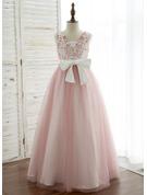 A-Line/Princess Floor-length Flower Girl Dress - Satin/Tulle/Lace Sleeveless V-neck With V Back