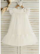A-Line Knee-length Flower Girl Dress - Satin/Tulle Sleeveless Scoop Neck With Ruffles