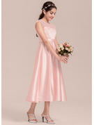 A-Line Scoop Neck Tea-Length Satin Junior Bridesmaid Dress