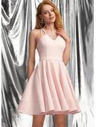 A-Line V-neck Short/Mini Stretch Crepe Prom Dresses