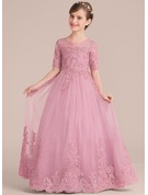Ball-Gown/Princess Scoop Neck Floor-Length Tulle Lace Junior Bridesmaid Dress With Sequins