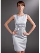 Sheath/Column Scoop Neck Knee-Length Satin Mother of the Bride Dress With Sequins