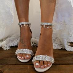 Women's PU Chunky Heel Peep Toe With Rhinestone Chain