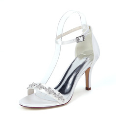 Women's Cloth Stiletto Heel Peep Toe Sandals With Chain