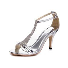 Kvinner Patentert Lær Stiletto Hæl Sandaler Pumps med Rhinestone Spenne sko