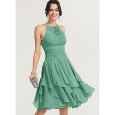 A-Line Scoop Neck Knee-Length Chiffon Cocktail Dress With Ruffle Cascading Ruffles (016170853)