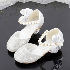 Girl's Round Toe Sparkling Glitter Flower Girl Shoes With Beading Bowknot Crystal Pearl (207224874)