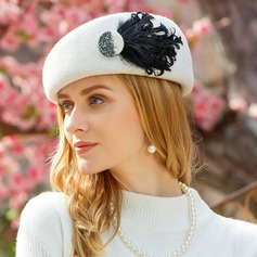 Ladies' Classic Wool With Feather Beret Hats