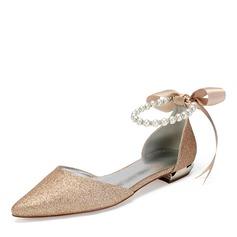 Women's Sparkling Glitter Flat Heel Flats Sandals With Imitation Pearl Rhinestone Sequin Sparkling Glitter Pearl