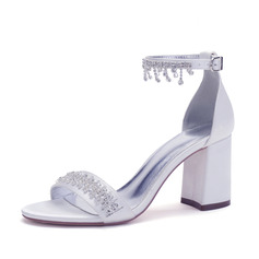 Women's Satin Sandals With Chain