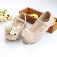 Girl's Round Toe Microfiber Leather Flat Heel Flower Girl Shoes With Beading Imitation Pearl Velcro