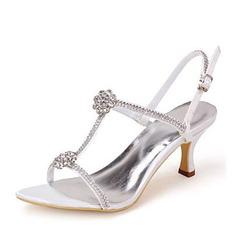 Women's Silk Like Satin Stiletto Heel Pumps Sandals With Rhinestone