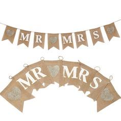 """""""Mr. & Mrs."""" Hemp Rope/Sengetøy Banner"""