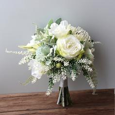 Romantic Free-Form Silk Flower Bridal Bouquets -