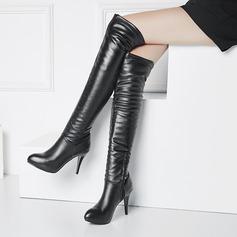 Kvinner PU Stiletto Hæl Pumps Platform Støvler Over Kneet med Glidelås sko