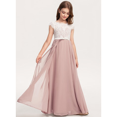 A-Line Scoop Neck Floor-Length Chiffon Lace Junior Bridesmaid Dress With Bow(s) (009208602)