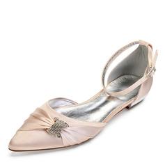 Kvinner Satin Flat Hæl Lukket Tå Flate sko Sandaler med Crystal