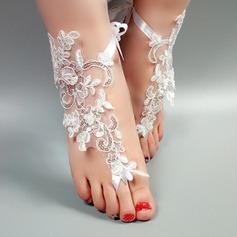 Kvinner Blonder Titte Tå Sandaler Beach Wedding Shoes med Syning Blonde Blomst Applikert