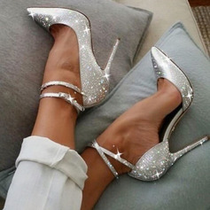 Women's Sparkling Glitter Stiletto Heel Closed Toe Pumps With Sparkling Glitter