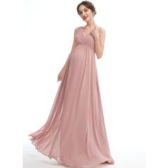 A-line kjole V-hals Gulvlengde Chiffong Brudepikekjole for Gravide (045251912)