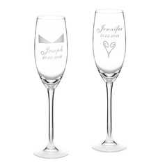 Personalized Elegant Glass Toasting Flutes