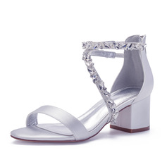 Women's Lace Chunky Heel Sandals With Rhinestone Zipper